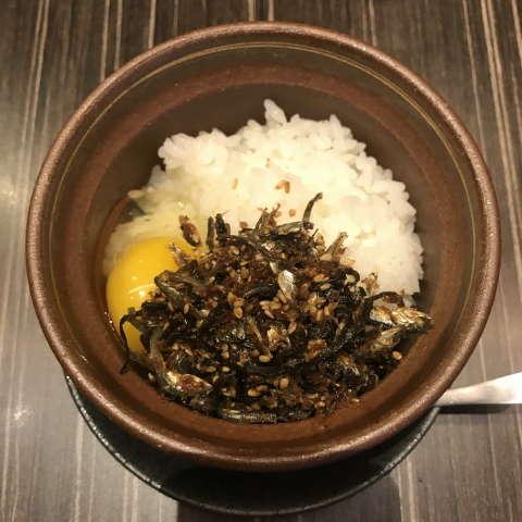 中華蕎麦三藤自家製生佃煮と卵かけご飯