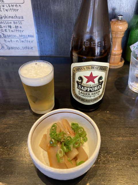 中華そばしながわビールとメンマ