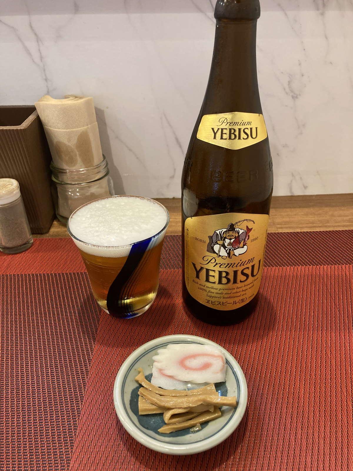 麺創庵砂田エビスビール中瓶